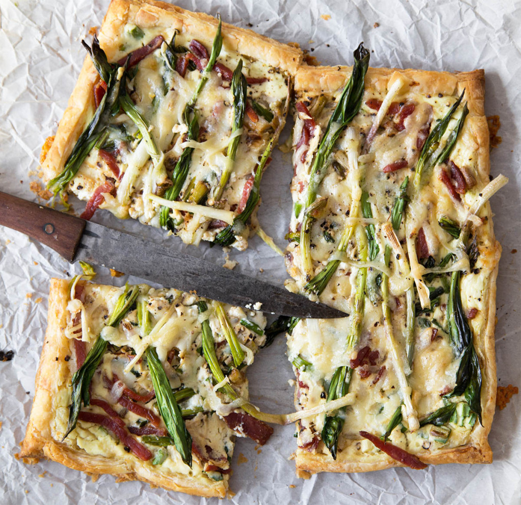 Ramp and Country Ham Tart