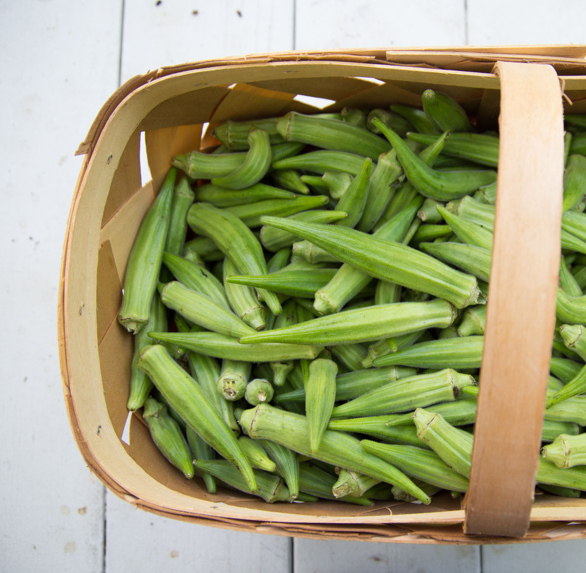 Fresh okra in a basket