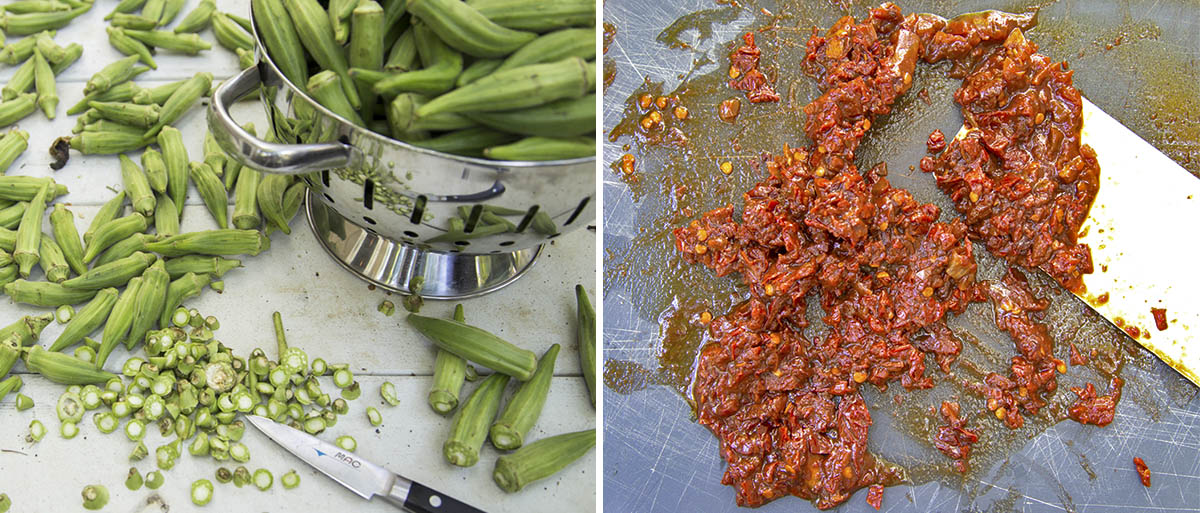 photo of trimmed okra, photo of chipotle puree