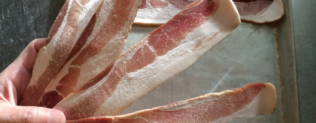 Frozen bacon slices, freezing food on sheet pans