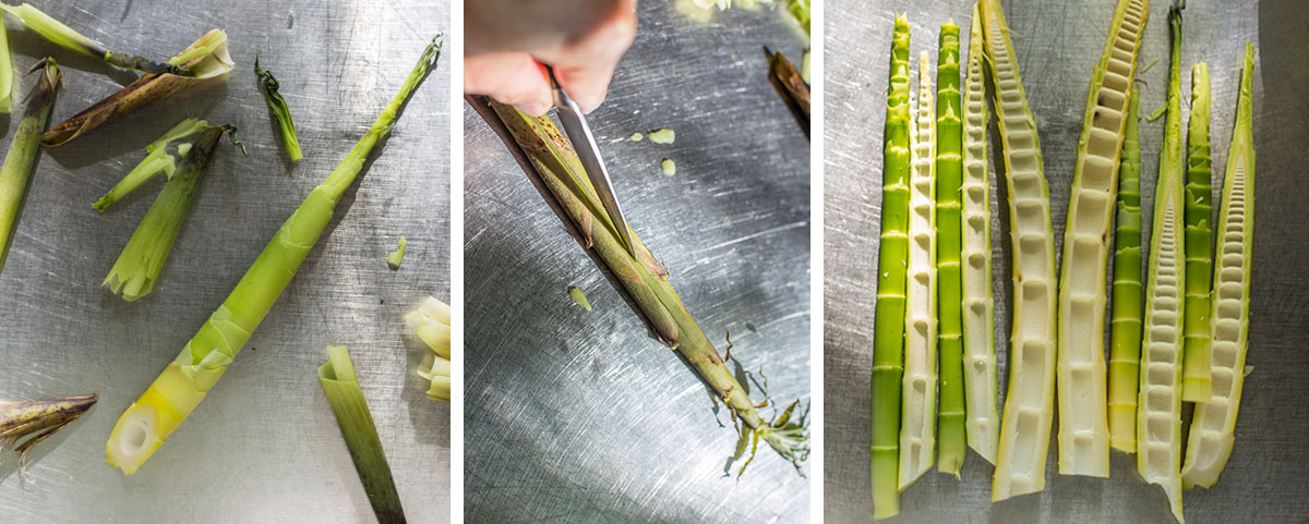 Peeling and trimming wild bamboo shoots for pickled bamboo shoots