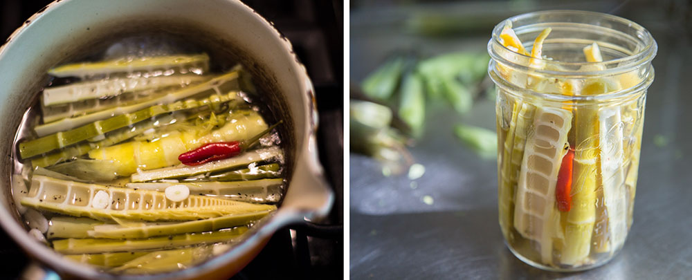 Simmering wild bamboo shoots in pickling solution and packing bamboo shoots into into pickle jar