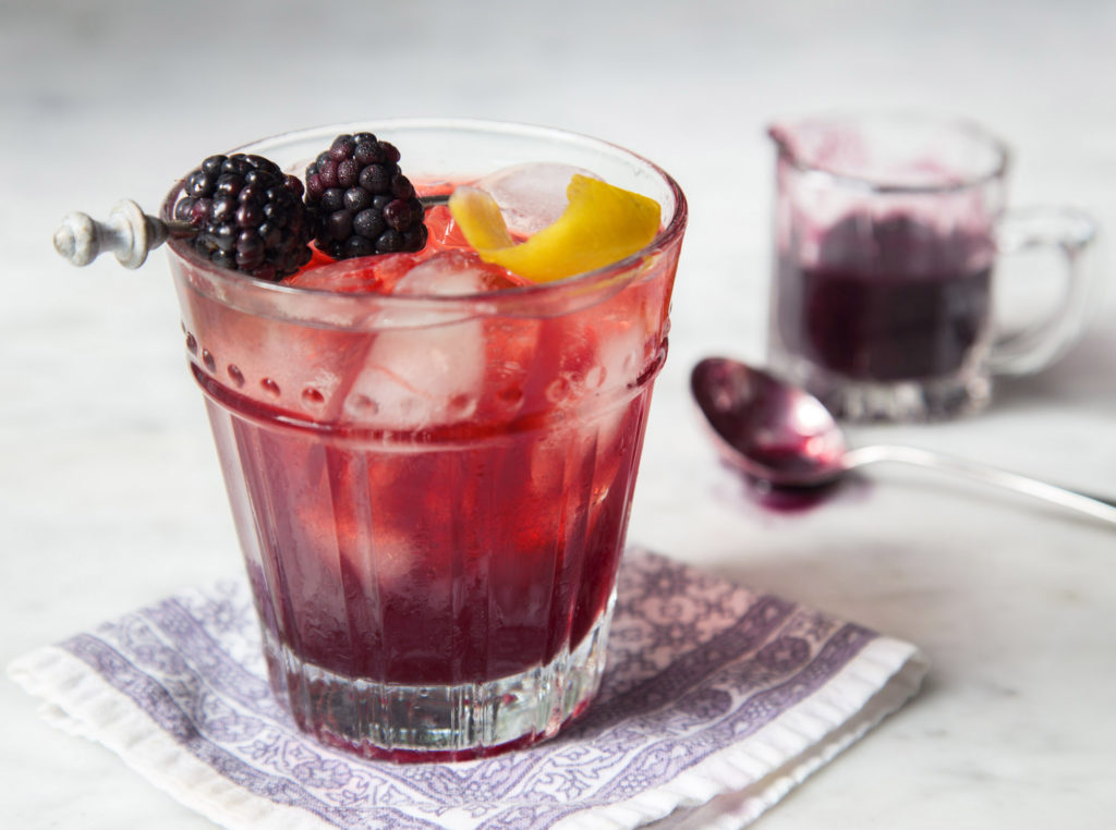 Blackberry Manhattan and blackberry syrup