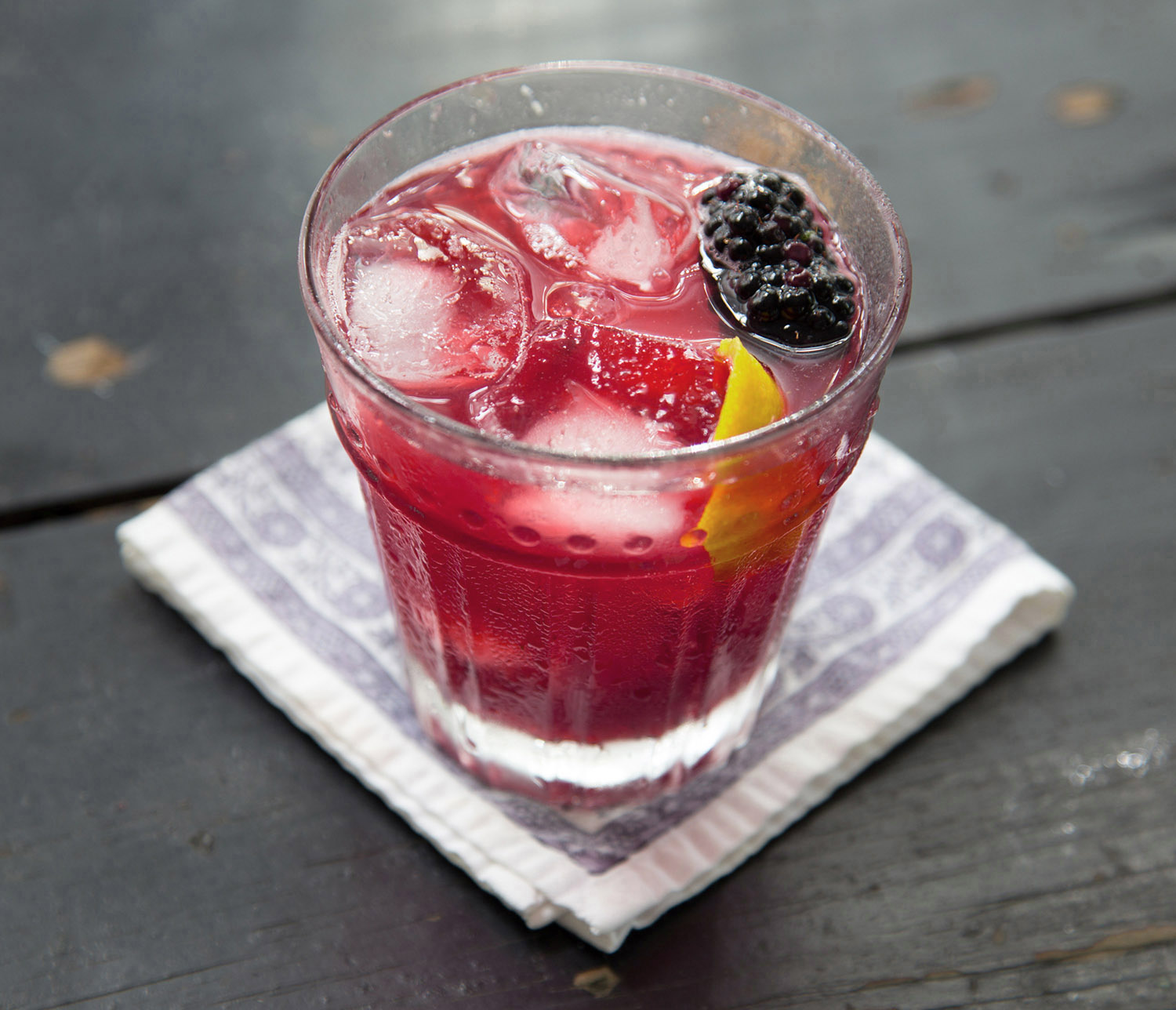 Blackberry Manhattan cocktail